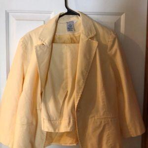 Yellow pin striped blazer with matching capris